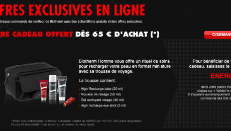 Biotherm homme promotion