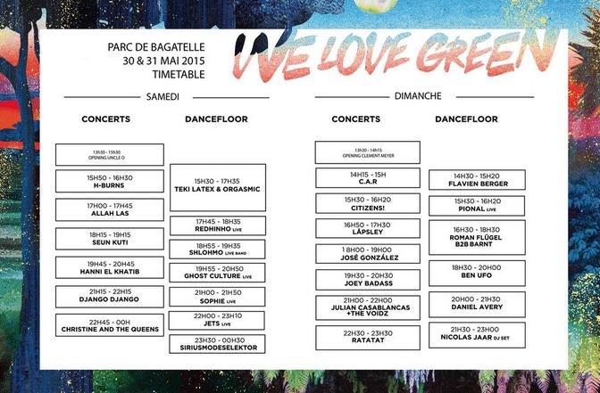WE LOVE GREEN FESTIVAL 2015 / TIMETABLE
