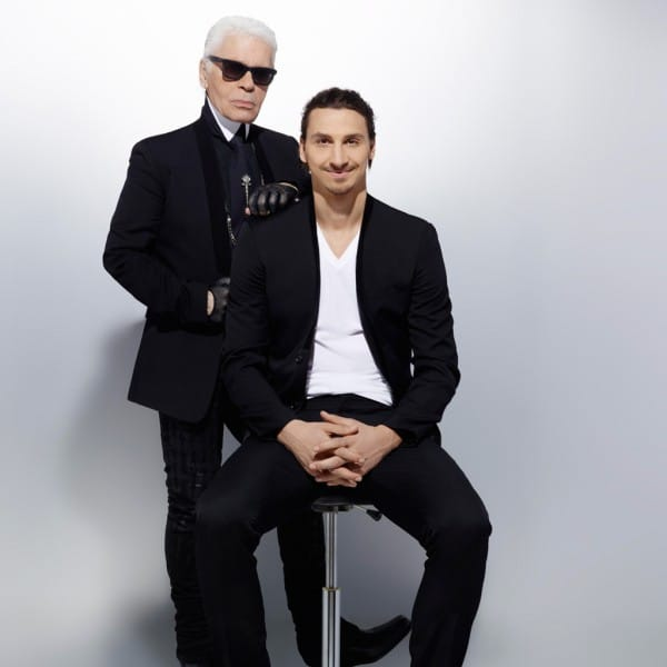 (Photo 1 : Z. Ibrahimovic pose pour Karl Lagerfeld)