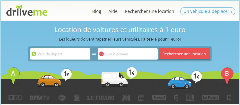 Votre trajet en voiture pour 1€ avec DriiveMe