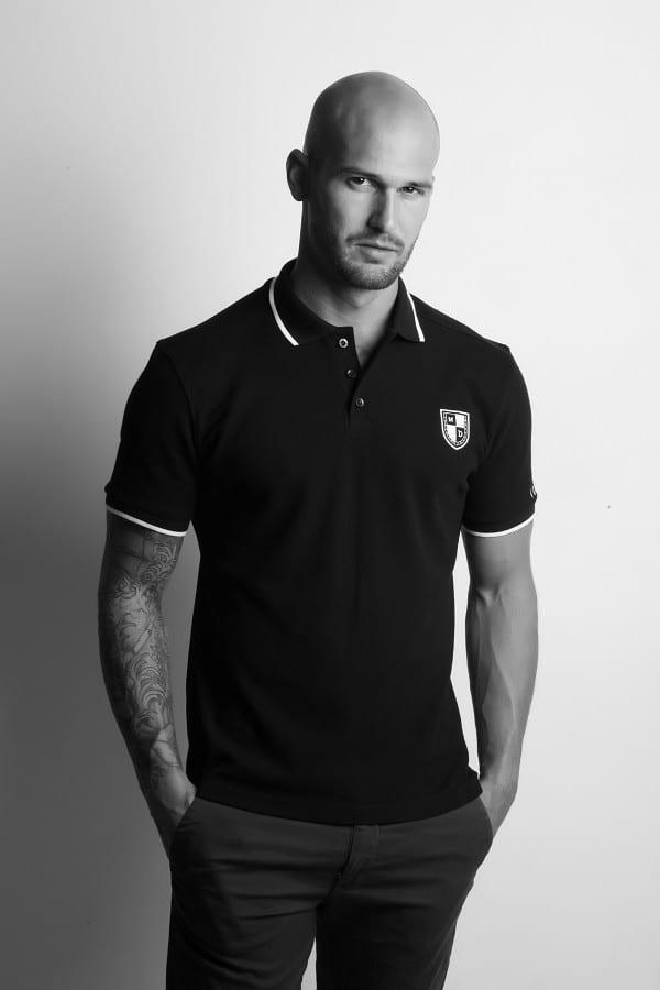 Polo noir Mike Dellone pour homme