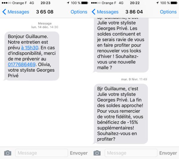 SMS personnalisé de la part de la styliste Georges Privé