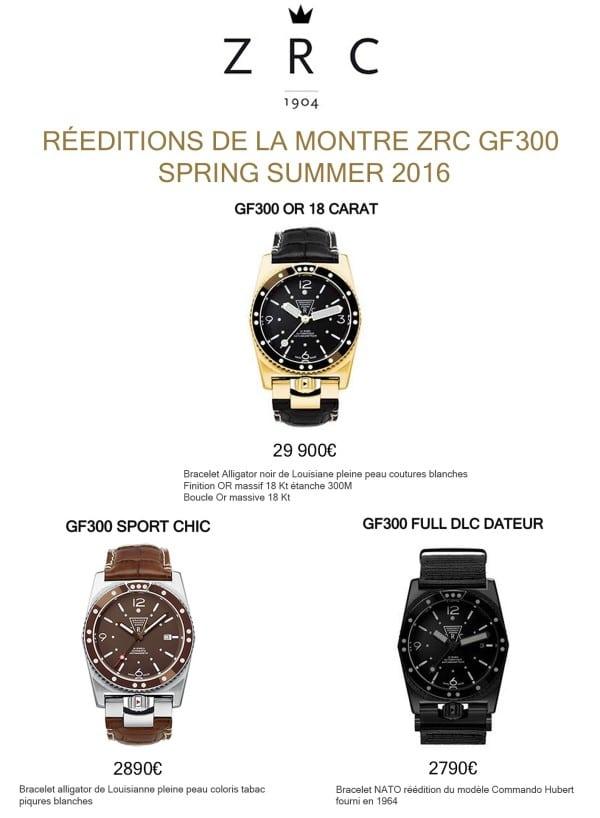 RÉÉDITION MONTRE ZRC GF 300 COLLECTION SS 16