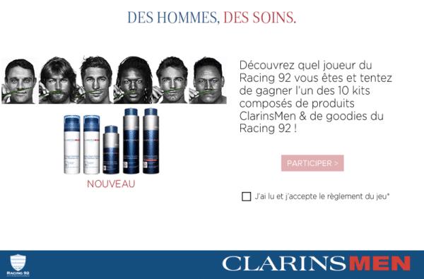 Jeu ClarinsMen et Racing92 sur Facebook