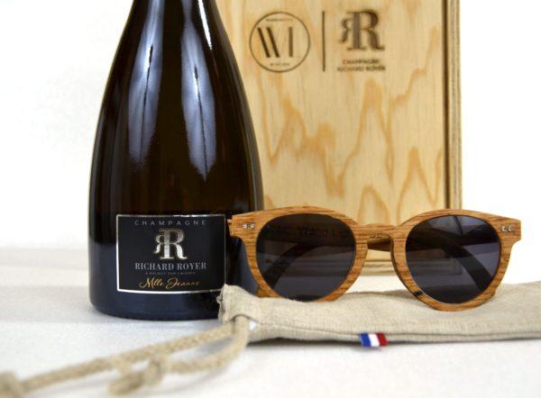 lunettes de soleil originales en bois de fut de champagne