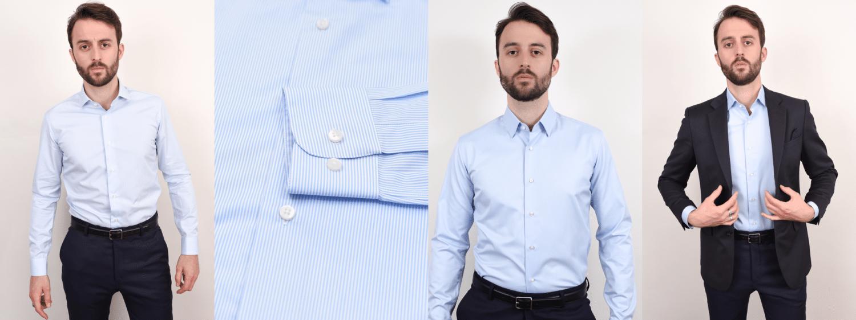 Chemises habillées GIOTHO coupe ajustée & col français ou cutaway
