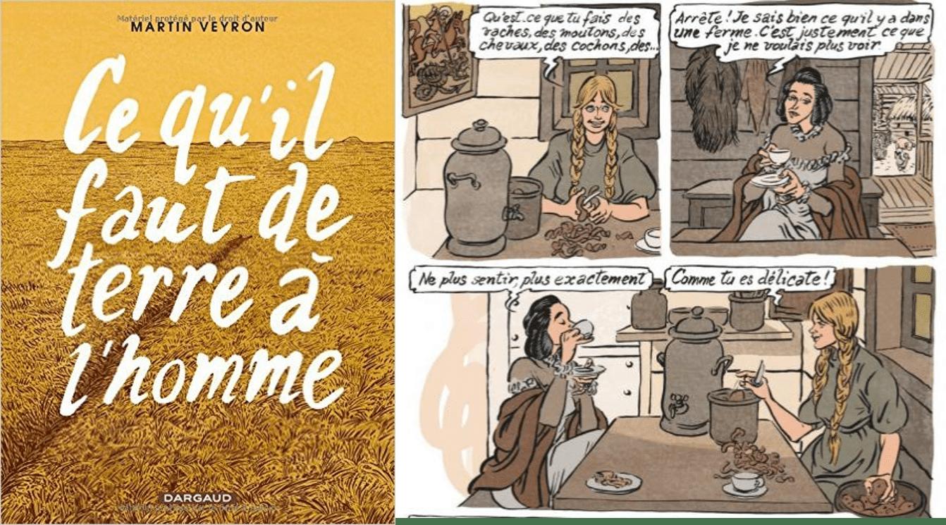Couverture et extrait de la BD « Ce qu'il faut de terre à l'homme » de Martin Veyron