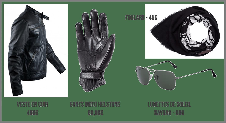 Look biker accessoires tendances Black - blouson, gants, lunettes, foulard