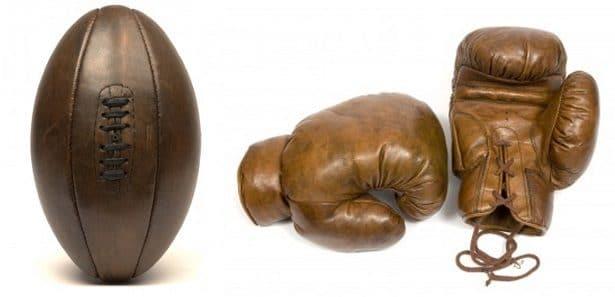 Ballon de rugby et gants de boxe old school