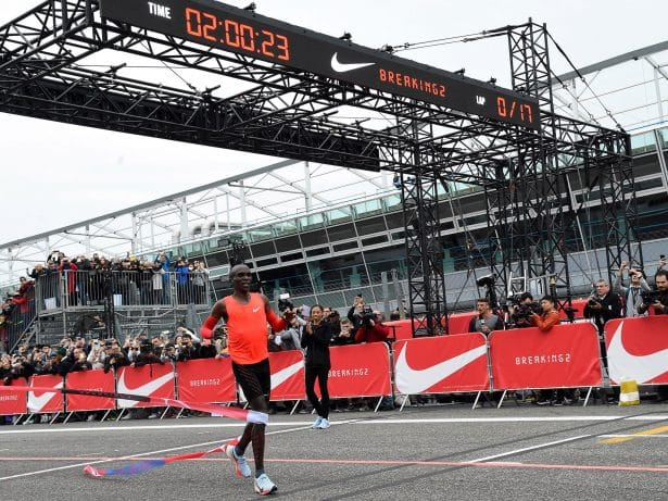 Eliud Kipchoge, 1er finisher du Breaking2 - crédit photo The Independant