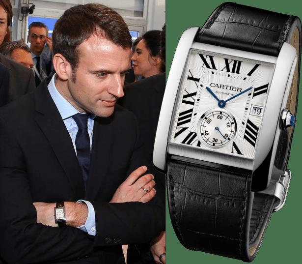 Emmanuel Macron et sa montre Cartier Tank MC à 6500€