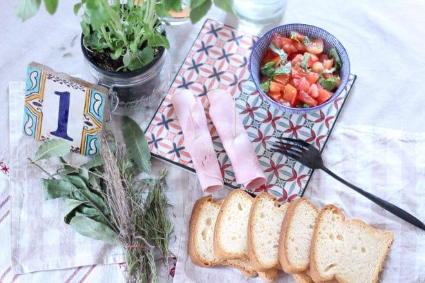 Les ingrédients - Brushetta sans gluten