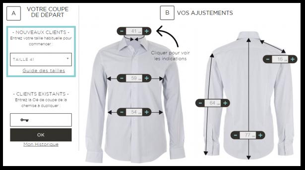 Outil de collecte de mesures pour chemise sur-mesure Le Chemiseur