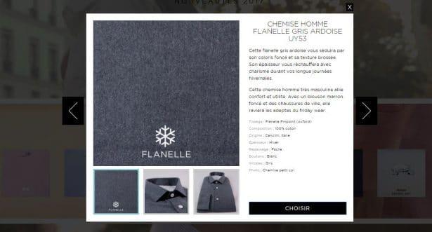 J'ai choisi le tissu FLANELLE GRIS ARDOISE pour ma nouvelle chemise sur-mesure