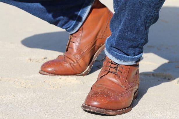 Boots Tommy Hilfiger pour homme en cuir marron