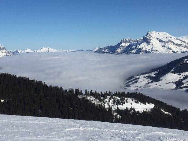 Au dessus des nuages sur le domaine skiable de Megève