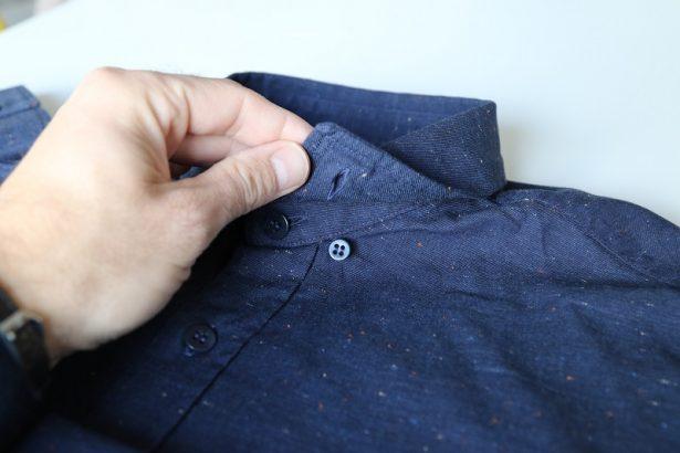 Chemise FYU modèle Montmartre Bleu Marine : bouton pour attacher le col