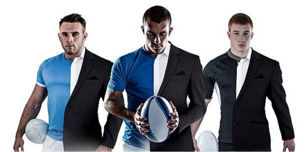 Rugbymen en costume et maillot de sport. On peut rester élégant et avoir un physique imposant