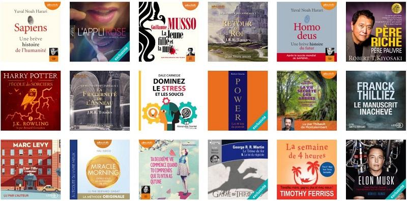Meilleures ventes de livres audio sur la plateforme Audible - Janvier 2019
