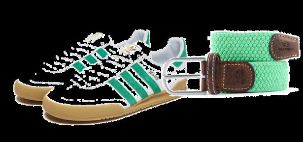 Ceinture tressée + sneakers