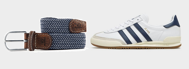 Ceinture tressée + sneakers adidas